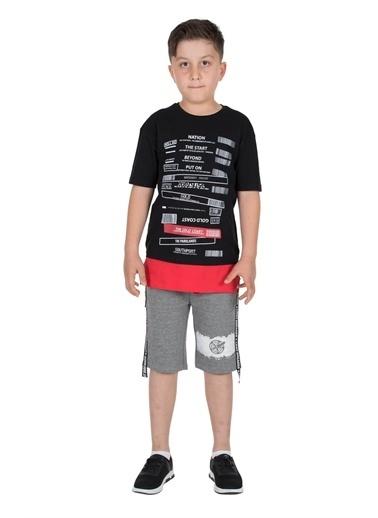 Silversun Kids Erkek Genç Belden Lastikli Yanları Yazı Şeritli Örme Şort- Sc 315880 Antrasit